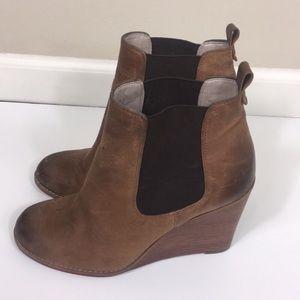 Hinge Brown Leather Wedge Booties